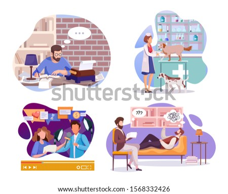 Employment and labor flat vector illustrations set. Writer, veterinarian doctor, news reporter and psychologist cartoon characters. Professional occupations. Mass media and healthcare industry workers