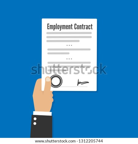 Employment contract paper document vector flat
