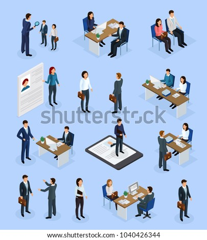 Employment isometric icons set with recruitment agency job seeker interview resume selection hiring manager isolated vector illustration