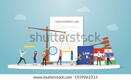 employment law concept with document paper and gavel scales and people employee with modern flat style Foto d'archivio ©