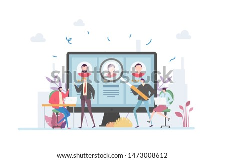 Employment Recruitment Vector Illustration Concept Showing human resource selecting potential future staff, Suitable for landing page, ui, web, App intro card, editorial, flyer, and banner.