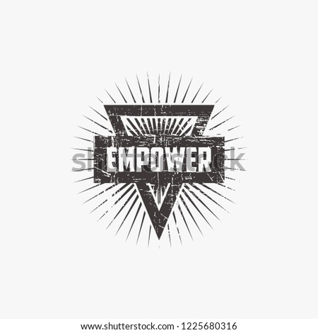 empowerment seal. stamp. Vintage, ribbon. with triangle concept.