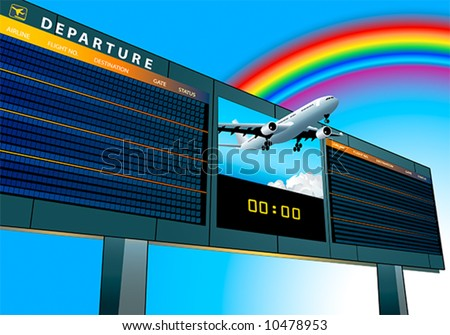 empty airport departure board with airplane flying to the rainbow