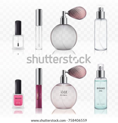 Empty and full glass cosmetic bottles for lipstick, nail polish, for perfume isolated on white background in a realistic style. Set of vector illustrations