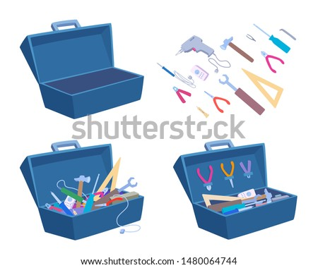 Empty and full open toolbox. Instruments separately. Vector cartoon illustration isolated on white. Photo stock ©