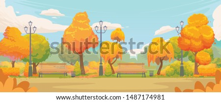 empty autumn park cartoon