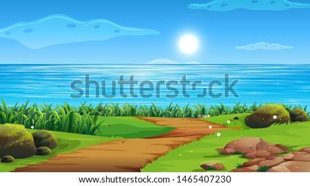 Fototapete Empty background nature scenery illustration