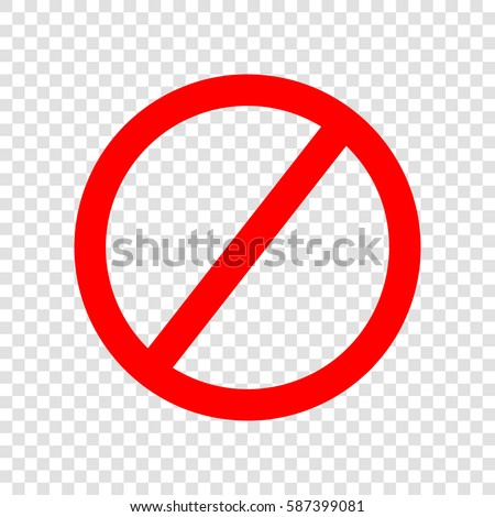 Empty Ban Sign. Vector. Red icon on transparent background.