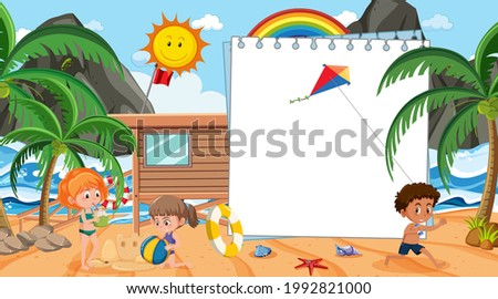Empty banner template with kids on vacation at the beach daytime scene illustration