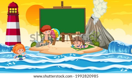 Empty banner template with kids on vacation at the beach sunset scene illustration