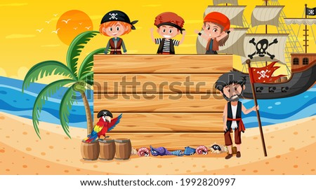 Empty banner template with pirate kids at the beach sunset scene illustration