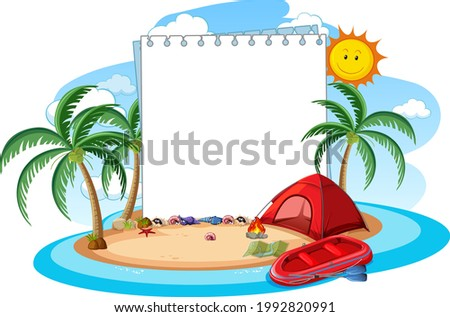 Empty banner template with summer beach element isolated illustration