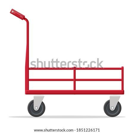 Empty barrow isolated on white. Metallic four wheeled trolley. Hand truck dolly icon. Transportation of goods, warehouse equipment. Cartoon flat vector illustration Stock photo ©