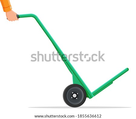 Empty barrow isolated on white. Metallic two wheeled trolley. Hand truck dolly icon. Transportation of goods, warehouse equipment. Cartoon flat vector illustration Stock photo ©