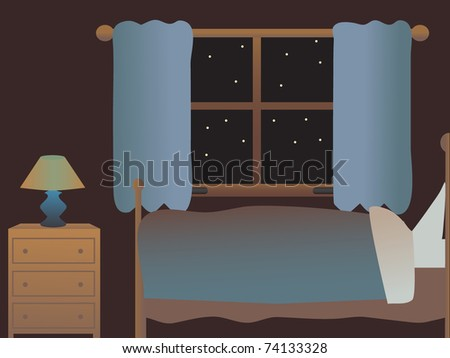 empty bedroom at night side