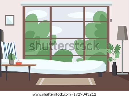 empty bedroom flat color vector