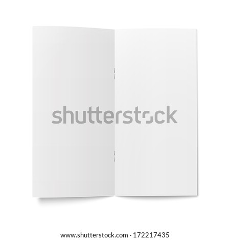 Empty bi-fold booklet template with clips on white background pure Vector illustration EPS10