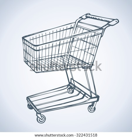 Empty big old warehouse trolly wagon for e spend isolated on white background. Freehand line black ink drawn sketchy logo sign in art scribble style pen on paper. Closeup side view with space for text