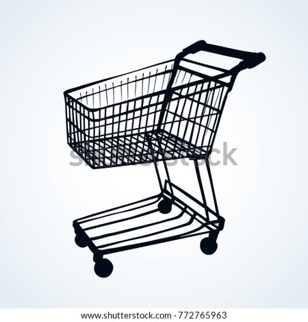 Empty big old warehouse trolly wagon isolated on white background. Line dark ink drawn logo emblem pictogram for e-spend in art doodle style pen on paper. Closeup side view with space for text