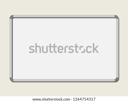 Empty blank board on white background. Board template hanging on the wall. Vector isolated illustration