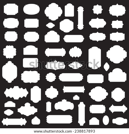 Empty blank vintage frame, set, romantic old style design elements, abstract objects, white silhouettes isolated on black background, vector illustration.