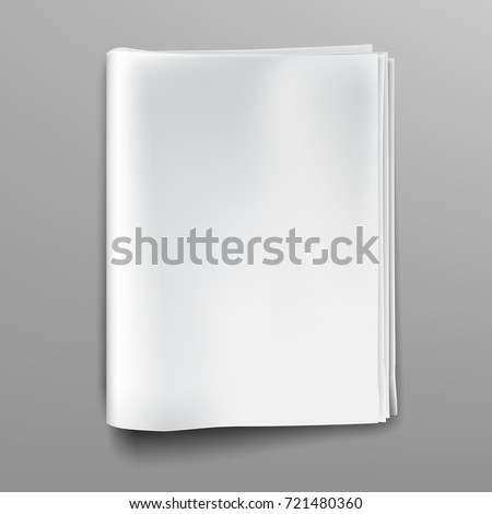 Empty, blank, white newspaper (magazine) mockup, front page. Realistic vector illustration