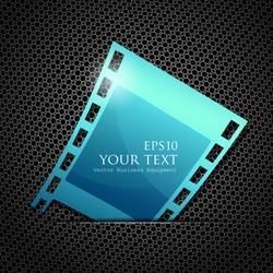 Empty blue camera film roll, vector illustration