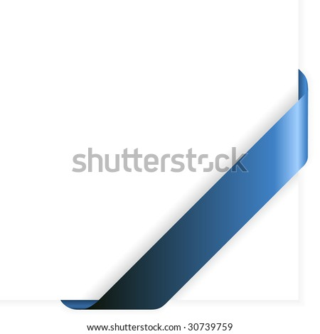 Empty blue corner ribbon - you can write some text on it (sale, new, sold, free, hot, etc)