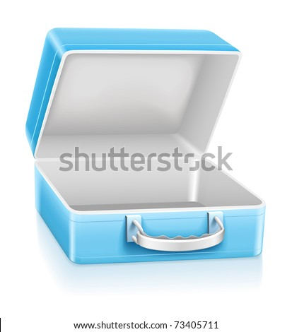 empty blue lunch box vector illustration isolated on white background