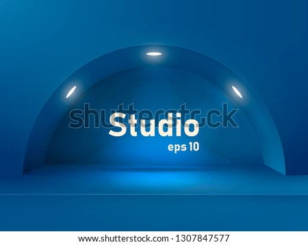 empty blue studio table with an