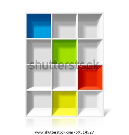 Empty bookshelf. Vector illustration.