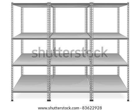 Empty bookshelves isolated on white background, vector illustration
