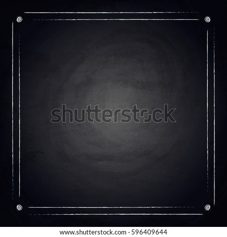 Empty border on blackboard chalkboard background. Vector illustration