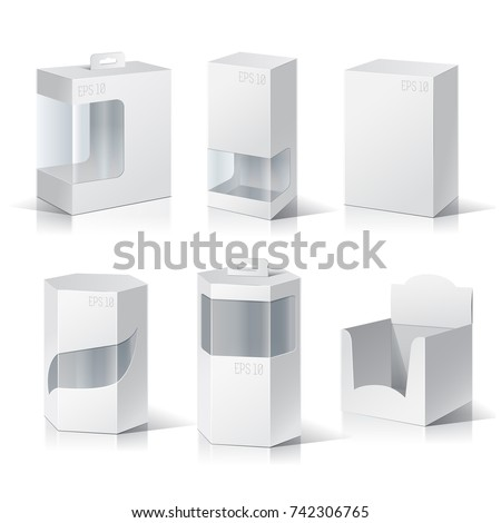 Empty box with a transparent plastic window for new design. Product Packing Vector.