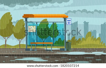 empty bus stop in rainy weather