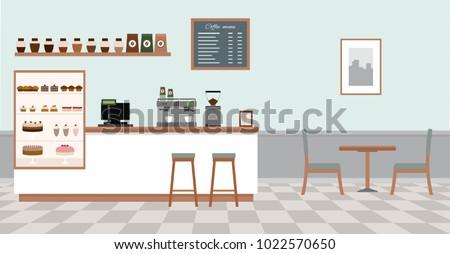 empty cafe interior coffee