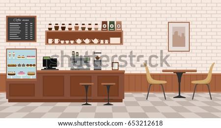 Empty cafe interior. Flat design vector illustration  - Shutterstock ID 653212618