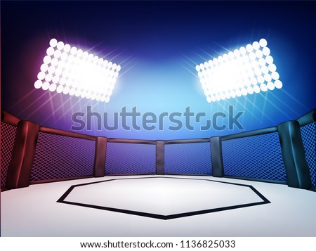 Empty Cage martial arts fighting arena stage with black style red and blue light:mma