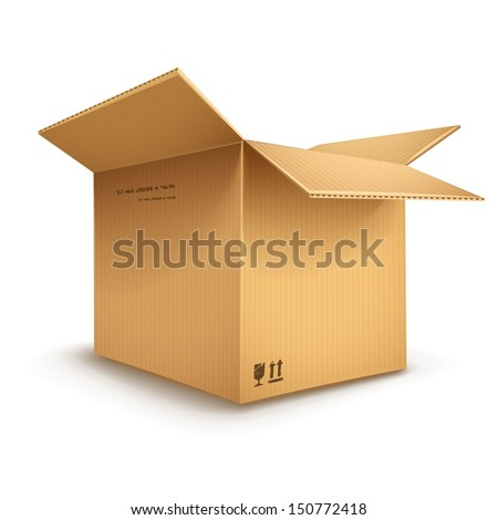 empty cardboard box opened isolated on transparent white background - eps10 vector illustration