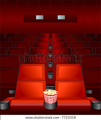 Empty Chairs Inside Movie Cinema With Highlighted Love ...