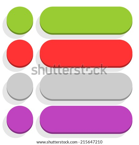 Empty circle and rounded rectangle icon with long gray shadow on white background in simple flat style. Set 02 green, red, gray, violet colors button. Vector illustration web design element in 8 eps