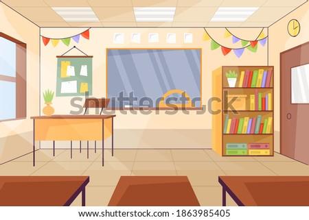 Empty classroom. School Education background. Empty school classroom. Classroom interior. Meeting room. Vector cartoon empty elementary or high school, college university classroom.