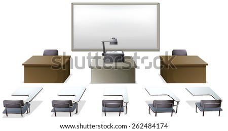 classroom table vector. empty classroom with desks and monitor table vector t