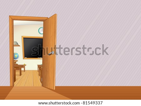 Empty Classroom with Wooden Furniture, Desks, Blackboard... vector illustration with copy space for your text or design