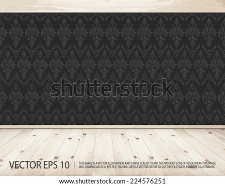 Empty clean interior with dark wallpaper and natural wooden rustic floor - vector