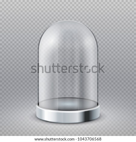 Empty clear glass cylinder showcase dome isolated on transparent background vector illustration. Exhibition glass showcase, container transparent dome