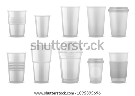 Empty clear white plastic disposable cups, takeaway containers for cold beverage, soda, tea and coffee vector template isolated. Illustration of cup and mug takeaway, clear container