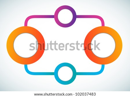 Empty color circle marketing flowchart vector illustration