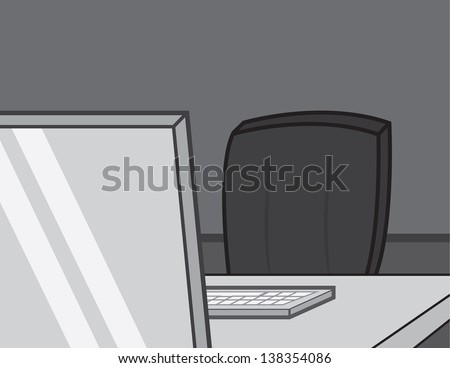 empty computer chair at desk