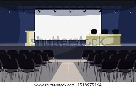 Empty conference room flat vector illustration. Lecture hall interior, convention center with nobody inside. Blank screen, tribune and table with microphones on stage. Public presentation place
